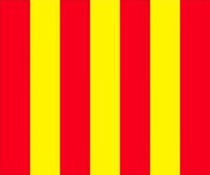 Puzle Bandeira amarela com listras vermelhas para alertar os motoristas que a pista está escorregadia