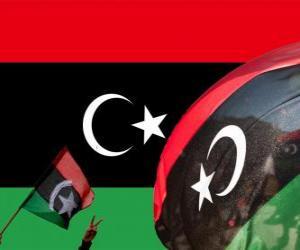 Puzle Bandeira da Líbia. Com o triunfo da rebelião de 2011 foi recuperada da bandeira 1951