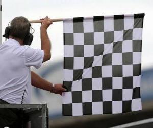 Puzle bandeira de xadrez, esta bandeira é mostrada no final da corrida
