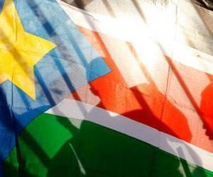 Puzle Bandeira do Sudão do Sul ou ou Sudão Meridional