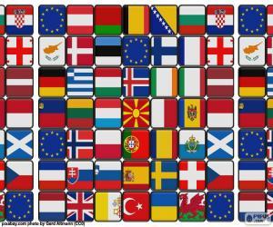 Puzle Bandeiras da Europa