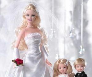 Puzle Barbie é a noiva. Barbie com o vestido de noiva