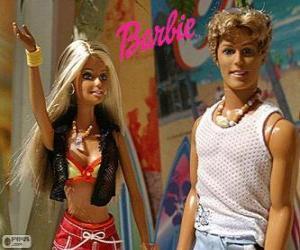 Puzle Barbie e Ken no verão