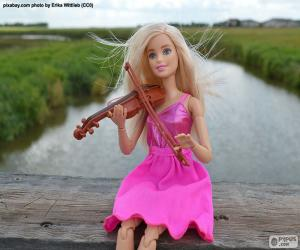 Puzle Barbie tocando violino