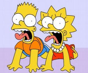 Puzle Bart e Lisa gritando