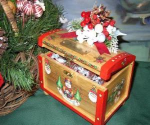 Puzle Baú decorado com temas de Natal