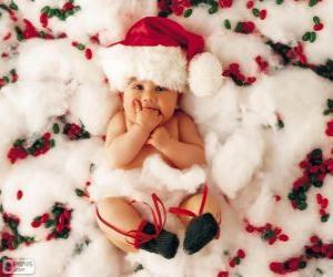 Puzle Bebê com chapéu de Papai Noel