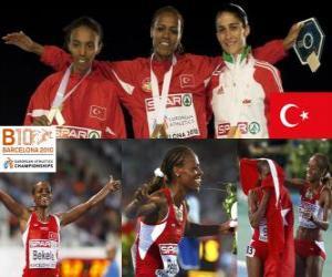 Puzle Bekele m Alemitu campeão em 5000, e Sarah Elvan Abeylegesse Moreira (2 e 3) do Campeonato Europeu de Atletismo de Barcelona 2010