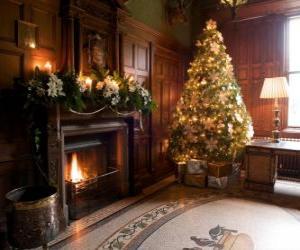 Puzle Bela lareira decorada para as celebrações de Natal