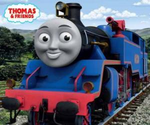 Puzle Belle, a grande e brava locomotiva azul tem dois canhões de água para extinguir os incêndios