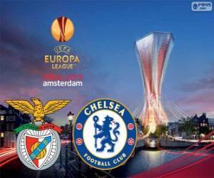 Puzle Benfica vs Chelsea. Europa League 2012-2013 Final no Arena de Amesterdão, Países Baixos