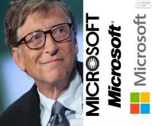 Puzle Bill Gates, empresário e cientista da computação estadunidense, co-fundador da empresa de software Microsoft
