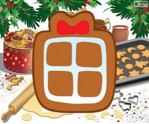 Puzle Biscoito com a forma de um presente de Natal