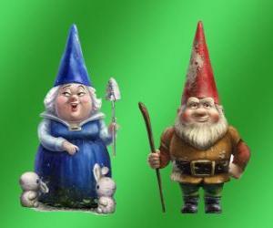 Puzle Blueberry Lady e Lord mãe Gnomeo Redbrick pai de Julieta e os líderes dos dois jardins rival