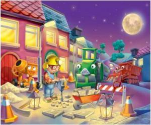 Puzle Bob e seus amigos na noite trabajano reparar uma rua da cidade