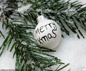 Puzle Bola de Natal, Merry Xmas