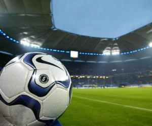 Puzle Bola em um estádio de futebol
