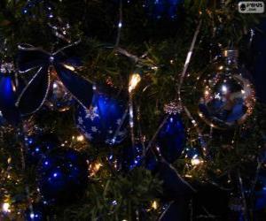 Puzle Bolas azuis, decorar uma árvore de Natal