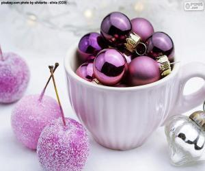 Puzle Bolas de Natal em uma xícara