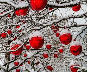 Puzle Bolas de Natal vermelha