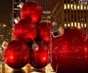 Puzle Bolas de Natal vermelhas
