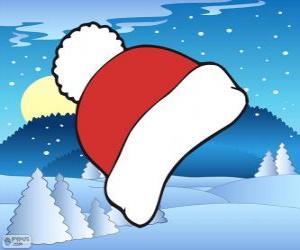 Puzle Boné vermelho e branco do inverno