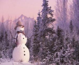 Puzle Boneco de neve com uma cena de neve