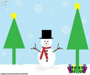 Puzle Boneco de neve de desenho