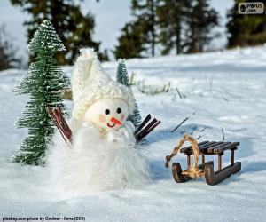 Puzle Boneco de neve e trenó