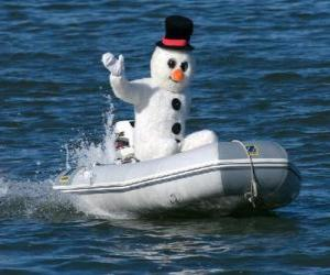 Puzle Boneco de neve em um barco