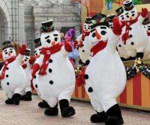 Puzle Bonecos de neve dançando