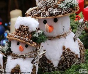 Puzle Bonecos de neve lindos