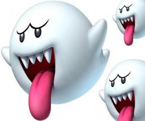 Puzle Boo de Super Mario Bros. Les Boos sont des créatures spectrales avec des dents pointues et longues langues