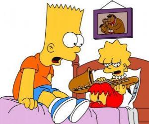 Puzle Brat surpreso ao ver Lisa com um instrumento