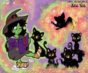 Puzle Bruxa com seus gatos pretos