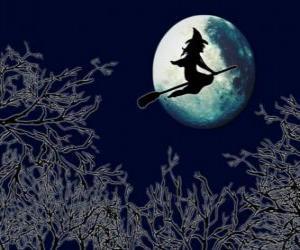 Puzle Bruxa malvada na sua vassoura mágica voando em direção ao castelo em uma noite de lua cheia