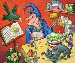 Puzle Bruxa preparando uma poção mágica com estranhos ingredientes