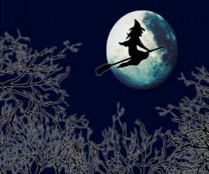 Puzle Bruxa voando em sua vassoura mágica na noite de Halloween