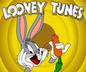 Puzle Bugs Bunny ou  Pernalonga, o coelho herói das aventuras do Looney Tunes