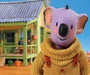 Puzle Buster é um dos  irmãos koala que vivem divertidas aventuras no deserto australiano, Os Irmãos Coala