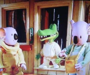 Puzle Buster e Frank com o seu amigo Archie o crocodilo
