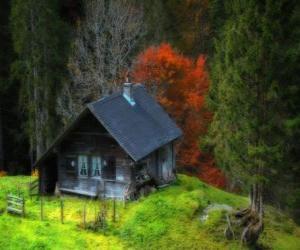 Puzle Cabana, de madeira na montanha