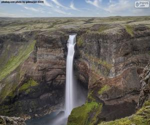 Puzle Cachoeira Háifoss, Islândia