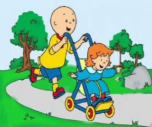 Puzle Caillou dando um passeio com a irmã no carrinho