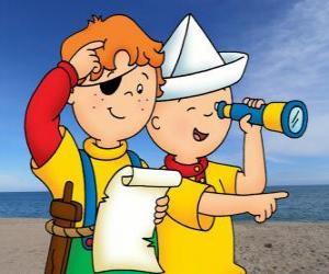 Puzle Caillou e Leo jogando a os piratas e procurando o tesouro com o mapa