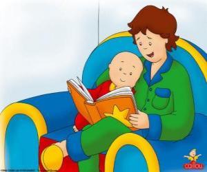 Puzle Caillou lê um livro com seu pai