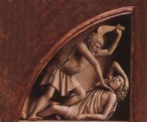 Puzle Caim, o primogênito de Adão e Eva, no momento de matar seu irmão Abel