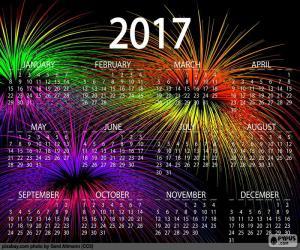 Puzle Calendário de 2017, feliz ano