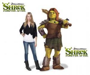 Puzle Cameron Diaz dá a voz de Fiona, o guerreiro, no mais recente filme Shrek para Sempre