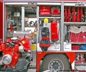 Puzle Caminhão de bombeiros de equipe